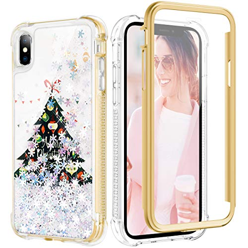 Caka Glitter Case for iPhone Xs Max Christmas Case Women Girls Sparkle Shockproof Protective Full Body Heavy Duty TPU Bumper Liquid Flowing Snowflake Glitter Case for iPhone Xs Max (Tree)