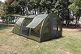 MK Outdoor Campingzelt für 4-5 Personen, Großes (475cm x 305cm x 207cm - LxBxH) Familienzelt mit 3 Eingängen und 5.000 mm Wassersäule, Tunnelzelt, Olive/grün, Gruppenzelt, Ideales Vorraumzelt!