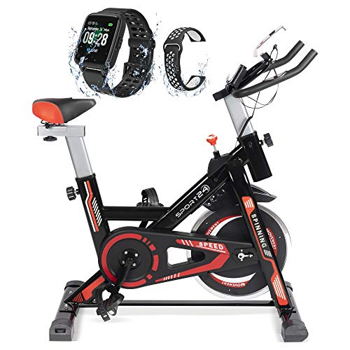Sport24 Stationary Upright Exercise Spinning Bike for Home Use with 8kg Flywheel, LCD Screen, Multi-Resistance Levels, Bicycle Cardio Trainer Indoor Fitness, 2021 Edition, (Black Red + Smart Watch)