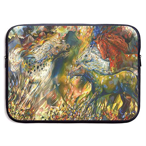 Waterproof Laptop Sleeve,Horse Painting Business Briefcase Protective Bag, Computer Case Cover for Ultrabook, MacBook Pro, MacBook Air, Asus, Samsung, Notebook 13 inch