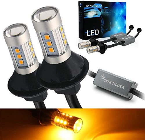 Syneticusa 3157 Error Free Canbus Ready Yellow Amber LED Front Rear Turn Signal Light Bulbs product image