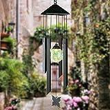 Solar Power Light Wireless Waterproof Wind Spinner Metal Wind Chime LED Light Outdoor