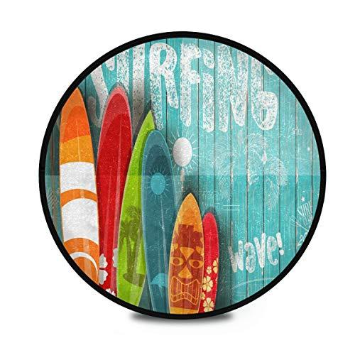 Mnsruu Alfombra redonda de madera para surf, antideslizante, para entrada, pasillo, sofá, sala de estar, dormitorio, decoración del hogar, 92 cm de diámetro