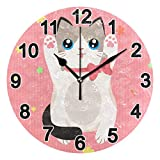 FULUHUAPIN Reloj de pared de gato lindo para baño, cocina, reloj de pared para niña niño sin tictac, silencioso, fácil de leer para decoración de dormitorio 22.5 cm, reloj redondo 20300956