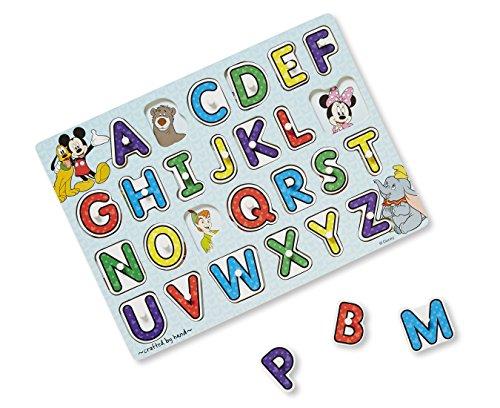 Melissa & Doug Disney Classics Alphabet Wooden Peg Puzzle (26 pcs)