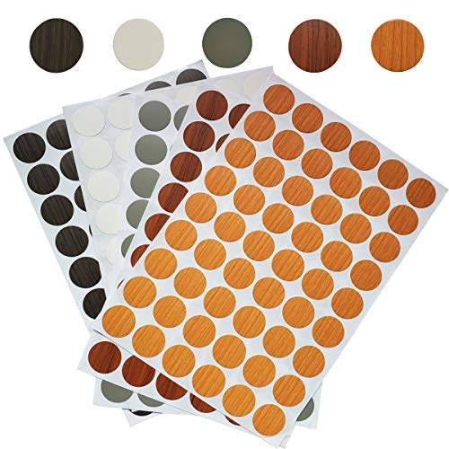 270 Pcs PVC Self-Adhesive Screw Hole Stickers,21mm Screws Covers Caps for Cabinet Wardrobe