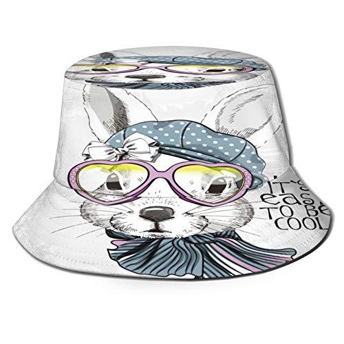 Sombrero de Pescador Unisex Vector Conejo Blanco Sombrero Arco Gafas Plegable De Sol/UV Gorra Protección para Playa Viaje Senderismo Camping