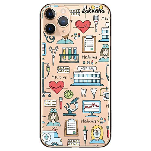 dakanna Funda para [iPhone 11 Pro MAX] de Silicona Flexible, Dibujo Diseño [Simbolos Medicina Enfermera Ambulancia Corazón Hospital], Color [Fondo Transparente] Carcasa Case Cover de Gel TPU