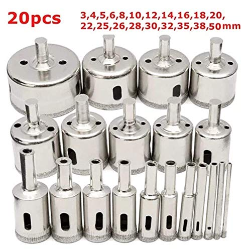 DSY 3-50mm Hole Saw Cutter for Glass Marble Granite 20Pcs Diamond Coated Core Drill Bit Set Drill Bits
