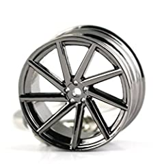 3D Miniature Vossen Wheel Rim Model Keychain High-Grade Polished Chrome Plated Alloy, Assembled in Primary Parts Similar to a Real Full Size Creative Design, Exquisite and elegant, excellent workmanship, Very Fashionable Keychain, Make You Look Diffe...