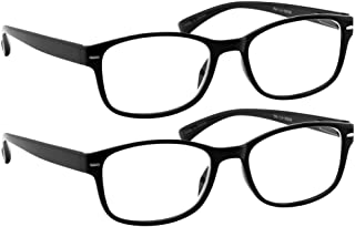 Reading Glasses 2 Pack Black Always Have a Timeless Look, Crystal Clear Vision, Comfort Fit with Sure-Flex Spring Hinge Arms