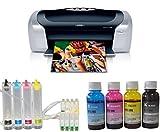 Dye Sublimation Photo Printer CISS Dye Sublimation Ink+Sublimation Paper+Tape Bundle