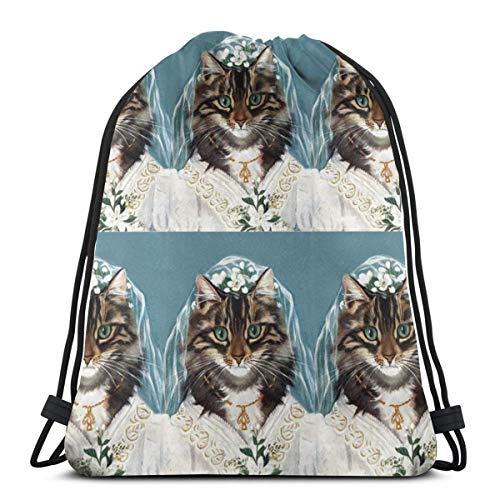 Lilyo-ltd Hochzeitskleid, Brautkleid, Hochzeit, Katzen, Maine Coon, Kordelzug, Rucksack für Damen und Herren