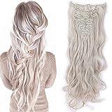 S-noilite Set 8pcs Clip in Hair Extensions Extension Clip Capelli Veri Testa Piena 18Clips Parrucchino 60cm Riccio Biondo cenere mix grigio argento