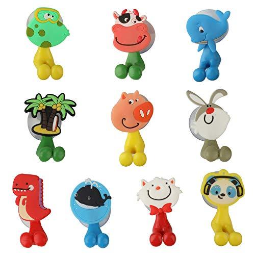 OOTSR 10 Stück Fun Zahnbürstenhalter für Kinder, Niedlichen Cartoon Kinder Zahnbürstenhalter mit Saugnapf zur Montage an glatter Wand in Dusche, Bad, Schlafzimmer, Büro