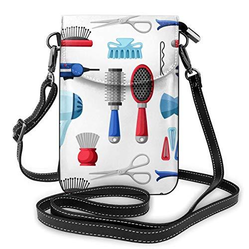 Bolso de mano de piel para teléfono, herramientas de peluquería y equipo de peluquería pequeño bolso bandolera mini bolso para teléfono móvil, bolso bandolera para mujer