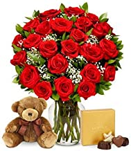 Flowers - Two Dozen Long Stemmed Red Roses with Godiva Chocolates & Bear (Free Vase Included)