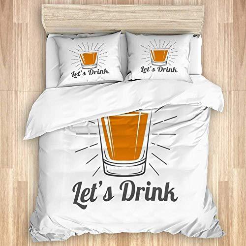 Funda nórdica, Whisky de Tiro Gris Vaso para Beber Vino, Alcohol, Comida, Bebida, Whisky de Vodka Retro Vintage, Whisky, Juego de Cama de Microfibra de Calidad, Ultra suavidad, diseño Moderno