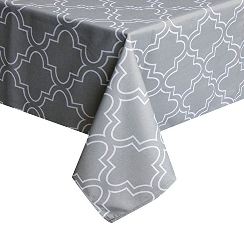 ColorBird Elegant Moroccan Tablecloth Waterproof Spillproof Polyester Fabric Table Cover for Kitchen Dinning Tabletop Decoration (Rectangle/Oblong, 60 x 84 Inch, Grey)