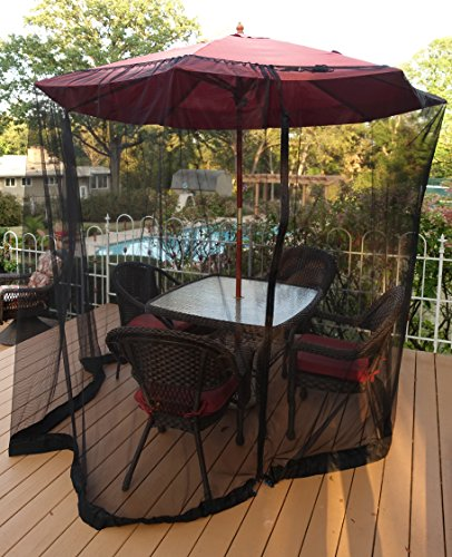 Patio Umbrella Mosquito Netting - Polyester Mesh Screen with Zipper Opening and Water Tube at Base to Hold in Place - Helps Protect from Mosquitoes - Fits 9FT Umbrellas and Patio Tables - Black