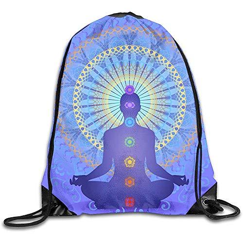 Dingjiakemao Unisex Mochila con Cordón,Blue Chakra Charm Meditation Drawstring Bag Elegante Cute Print Lightweight Sackpack Sport Gym Bundle Mochila Theme Novedad Outdoor Classic