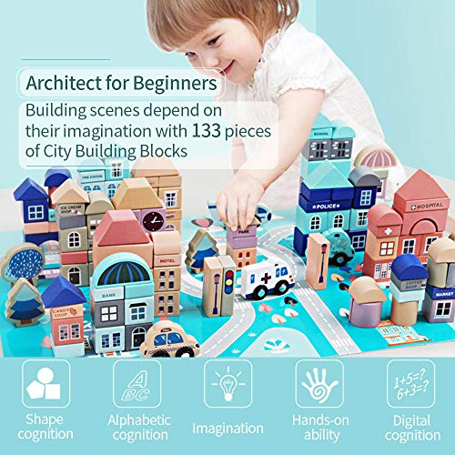 Mochoog Wooden Building Blocks Set, 133 Pieces Educational Construction ABC/123 Blocks for Toddlers, Cognition and Creativity City Building Blocks Stacking Preschool Toys for Kids with Play Mat Puzzle
