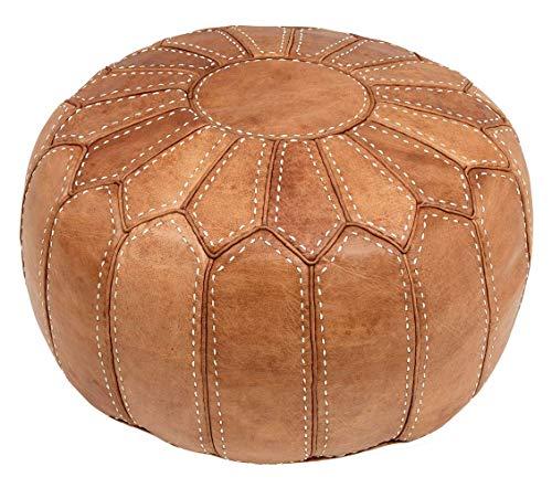 Marokkanischer Sitzkissen Pouf Bezug. Echtes naturfarbenes Leder. Handgearbeitet und handgenäht.