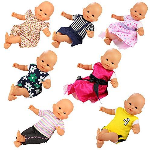 Miunana Ensembles 7 Tenues Mignonnes Vêtement Colorés à la Main pour La Poupée Corolle ou Poupée Bébé Poupon de 36 CM
