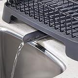 mDesign Abtropfgestell aus Metall und Kunststoff – Geschirrabtropfgitter mit schwenkbarem Ausgießer – Geschirr Abtropfkorb für ein Lufttrocknen auf der Arbeitsplatte – mattschwarz und schiefergrau - 6