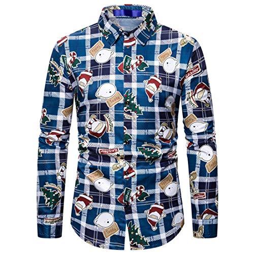 NLZQ Herren Revers Weihnachten Drucken Hemd Slim Fit Gemütlich Langarm Regular Fit Button Hemd Chic Party Freizeit top Frühling und Herbst top XXL