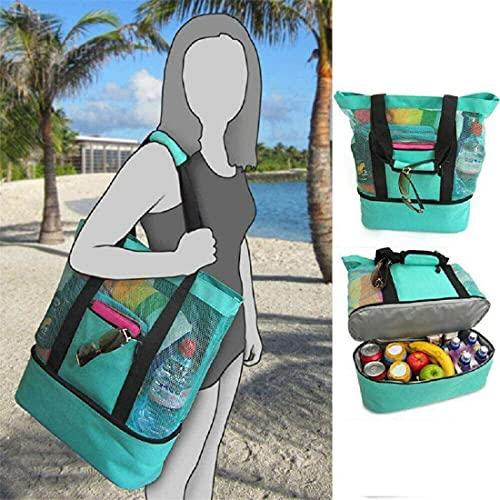 AMYGG Bolsa de Picnic para Mujer portátil, Compartimento de Malla para refrigerador, Bolsa de Playa de Gran tamaño con Cierre de Cremallera y Nevera Desmontable para Picnic al Aire Libre (Verde)