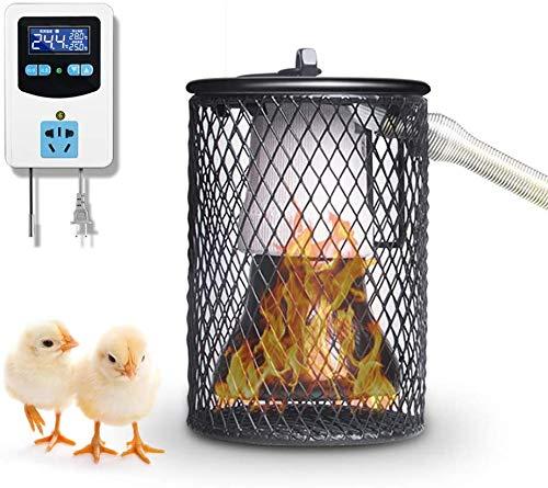 HTDHS Lámpara De Calor Para Pollo, Pantalla De Lámpara De Calor Para Mascotas Con Tubo De Hierro Anti-mordida Con Termostato De Calor Digital, Emisor De Calor Para Mascotas Para Pollo, Lagarto, Tortug
