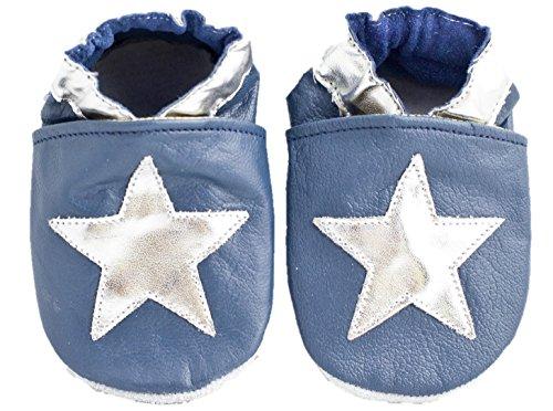 Chaussons bébé en cuir souple bleu étoiles argentées - Bleu - bleu marine, 0-6 mois