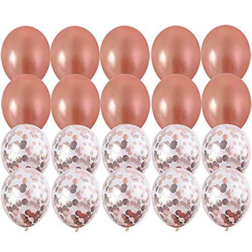 GNSDA 20 Pack Rose Gold ballonnen Rose Gold Confetti ballonnen -18 inch- een pomp is inbegrepen in het pakket - voor bruidsfeesten of verjaardagsfeestjes