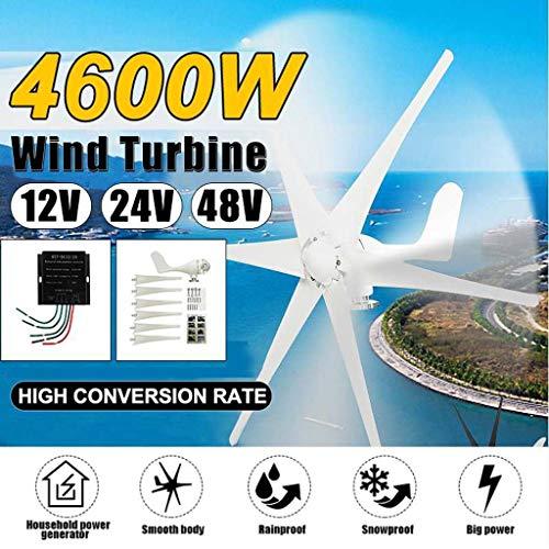 6 Blade-4600W Windgenerator + Regler 12V / 24V / 48V Wind Turbines Horizontal Startseite Powers Windmühle Energieanlagen Lade (Voltage : 12V)