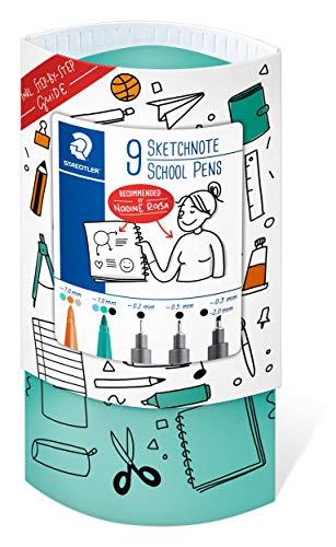 STAEDTLER Sketchnoting 61 SN-2 - Juego de 9 bolígrafos escolares (punta fina, rotuladores, subrayadores)