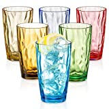 UNBREAKABLE Drinking Glasses SET OF 6 [Highball Glasses 15 Ounces] Shatterproof Drinking Glasses, Colorful REUSABLE Drinking Cups, Acrylic/Tritan Glasses, BPA Free Tumblers Microwave/Dishwasher Safe