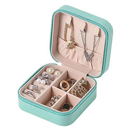 Jewelry Box Neceser Joyas Viaje Portátil Para Mujer Caja Joyero de Cuero Para Mujer Adecuado Para Guardar Anillos, Pendientes, Collares, Pulseras Regalo Para Dama(azul Tiffany 10 * 10 * 5 cm)