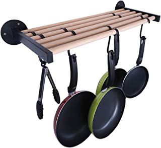 OROPY Wall Mounted 24'' Pot Rack Solid Wood Shelf with 6 Iron Hooks, Multipurpose Wooden Storage Organizer for Pans, Pots, Utensils, Kitchen Cookware