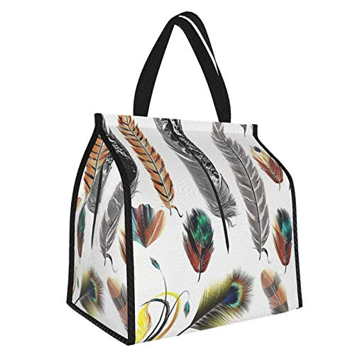 Y-shop Feather House Decor Set Of Detailed Big And Small Several Bird Feathers In Vibrant Colors Boho Multi Picnic Freezer Bag,Large Insulated Cooler Bag Picnic Camping Beach Tour Bbq 30l