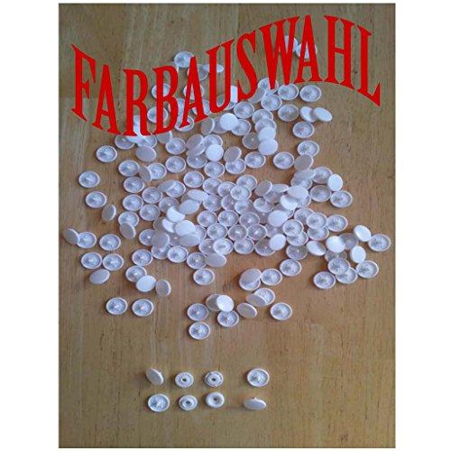 RP_Handel 50 Nähfrei KAM Snaps Druckknöpfe MATT, T5 = 12,5 mm Nachfüllpack Farbauswahl (B03-Weiß)