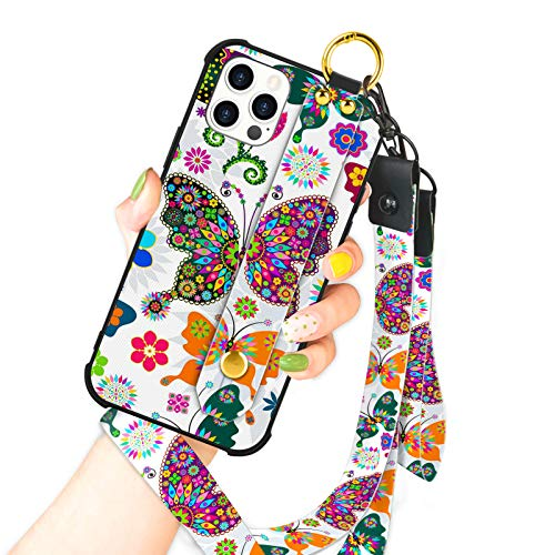 OOK Compatible with iPhone 12 Pro Max Case Butterfly Design Wrist Strap Cell Phone Cover with Lanyard Kickstand Band Protective Shockproof Stand Pattern Bumper Case for Women Girls