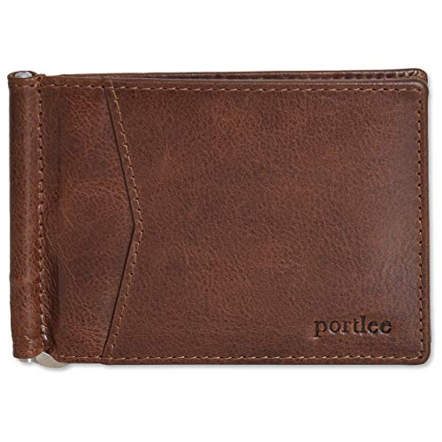Portlee Genuine Leather Money Clip Wallet with Card Holder Slots, Brown