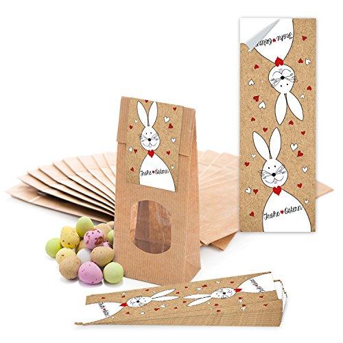 Logbuch-Verlag 25 braune Ostertüten mit Fenster & Folieneinlage zum Befüllen 7 x 4 x 20,5 cm + Osteraufkleber Frohe Ostern mit Osterhase - Verpackung Ostergeschenke Ostergebäck