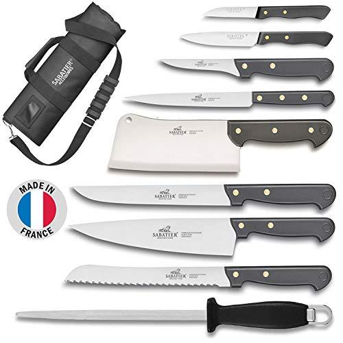 Sabatier Cuisine d'aujourd'Hui - Mallette de Cuisinier avec 8 Couteaux de Cuisine + 1 Fusil à aiguiser - Fabriqué en France