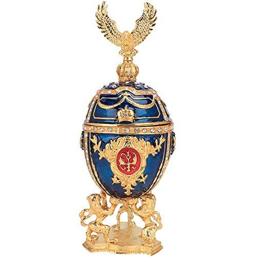 HERCHR Joyero de Huevo de Fabergé esmaltado Pintado a Mano, Caja de baratija Decorativa de Diamantes Brillantes chapados en Oro, decoración del hogar para Collar, Pulsera, baratija, 3 x 7,8 pul