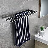 KROCEO Toallero doble para baño, sin agujeros, autoadhesivo,...