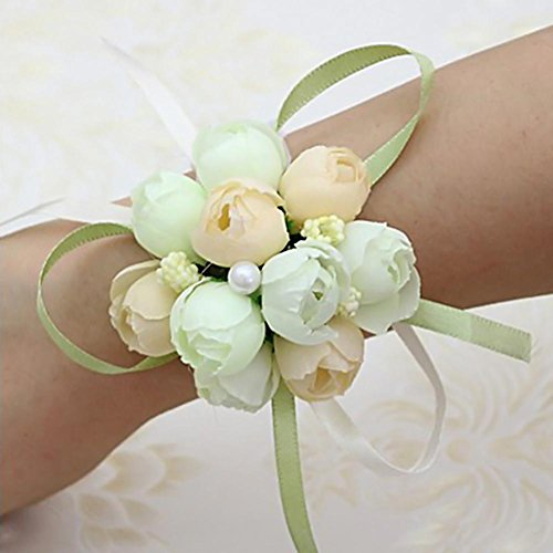 Seasaleshop bruiloft pols bloem armband bloem armband voor bruidsmeisjes, feestbloem om de pols vast te maken met armband, wit by