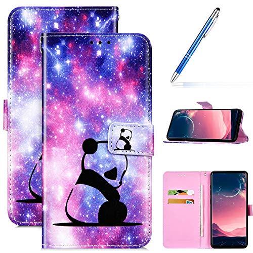 Kompatibel mit Samsung Galaxy S20 Plus Leder Hülle Handytasche Handyhülle Bunt Motiv Muster Hülle Klappbar Schutzhülle Flip Wallet Case Brieftasche im Bookstyle Klapphülle Wallet Case Tasche,Panda