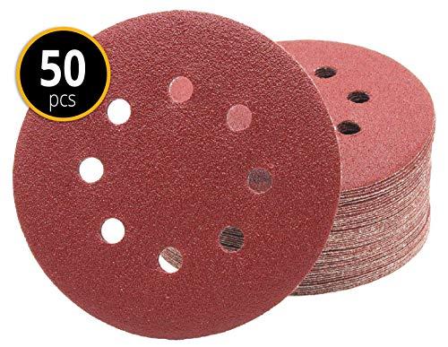 Preisvergleich Produktbild Profi-Schleifscheiben 50 Stück 8-Loch Ø 125 mm Korn 80 für Exzenterschleifer Schleifblätter Schleifpapier Schleifpads